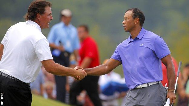 Phil Mickeson and Tiger Woods