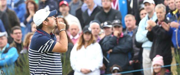 Patrick Reed in Ryder Cup action at Gleneagles