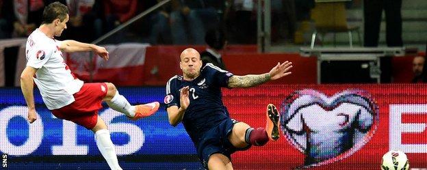 Krzysztof Maczynski scores for Poland against Scotland