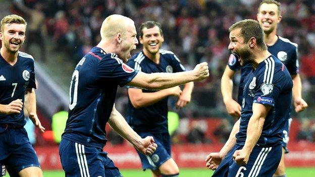 Scotland's goal heroes Steven Naismith and Shaun Maloney celebrate after the former made it 2-1