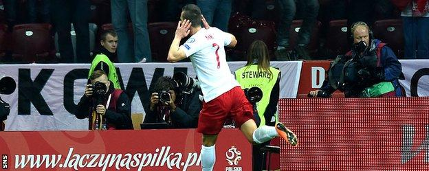 Arkadiusz Milik celebrates after scoring for for Poland against Scotland