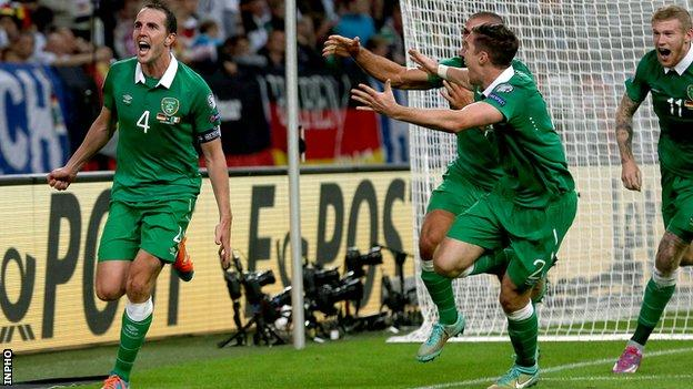 A delighted John Shea celebrates his third goal for the Republic of Ireland