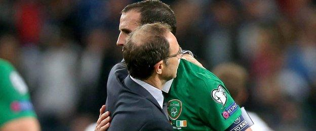 A well deserved hug from Martin O'Neill as the Republic remain unbeaten in Group D