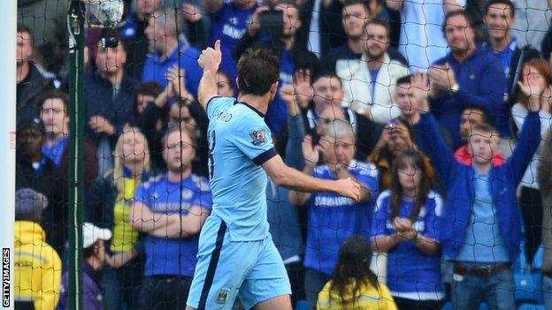 Frank Lampard salutes Chelsea supporters at the Etihad