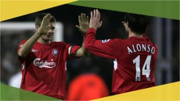 Liverpool's Steven Gerrard and Xabi Alonso against Luton Town in the 2006 FA Cup