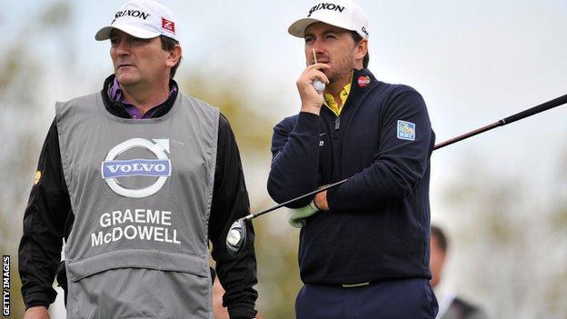 Graeme McDowell and his caddie