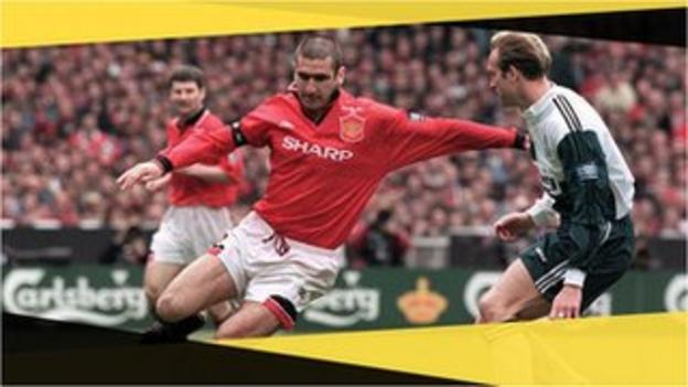 Manchester United's Eric Cantona in the 1996 FA Cup final against Liverpool