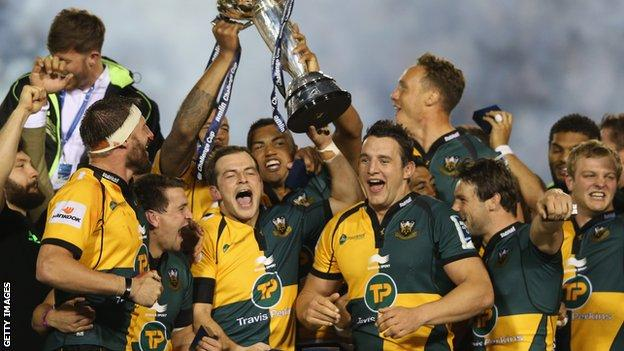 Northampton Saints celebrate winning the Challenge Cup