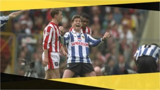 Sheffield Wednesday's Chris Waddle celebrates in the 1993 FA Cup semi-final against Sheffield United