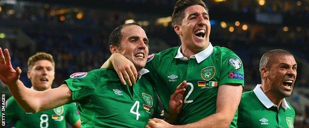 John O'Shea is the unlikely hero for the Republic as he equalises in Gelsenkirchen