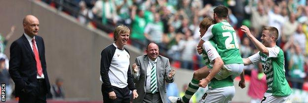 Uwe Rosler looks on as Yeovil celebrate their second goal at the 2013 League One play-off final