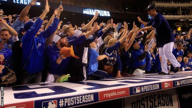 Kansas City Royals celebrate making it to the World Series