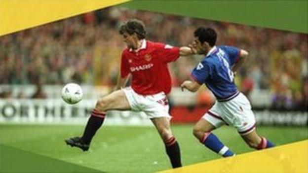 Manchester United's Mark Hughes against Oldham in the 1994 FA Cup semi-final