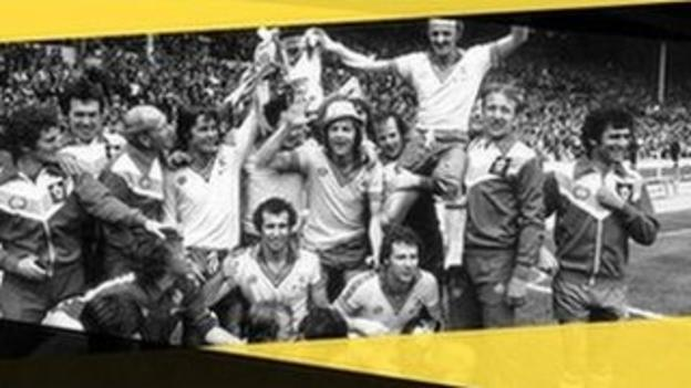 Southampton's Bobby Stokes lifts the FA Cup with his team-mates