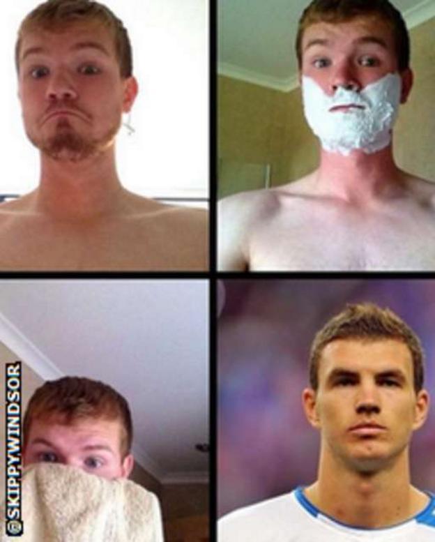 Christopher Windsor sends pictures of himself looking like Edin Dzeko