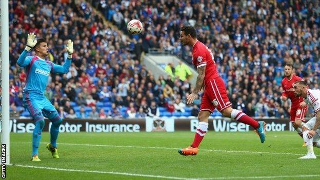 Sean Morrison goes close for Cardiff