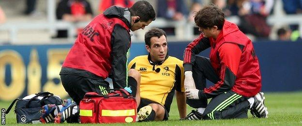 French referee Mathieu Raynal had to be replaced in the first half after being injured in an accidental trip