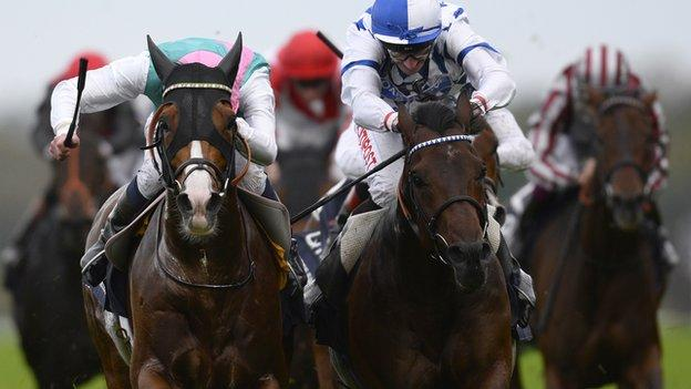 James Doyle riding Noble Mission (left) win the Champions Stakes from Al Kazeem (right)
