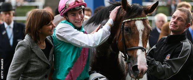 Lady Jane Cecil (left) and James Doyle (centre) celebrate with Noble Mission