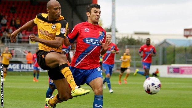Chris Zebroski goes close for Newport County
