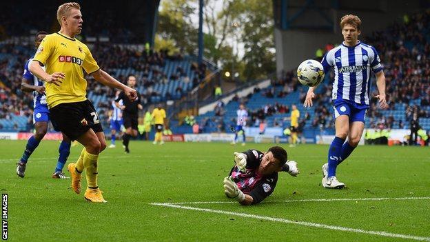 Matej Vydra scores Watford's third goal