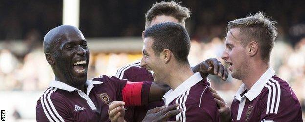 Hearts players celebrating