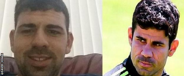 A split picture of a man who resembles Chelsea striker Diego Costa and Diego Costa