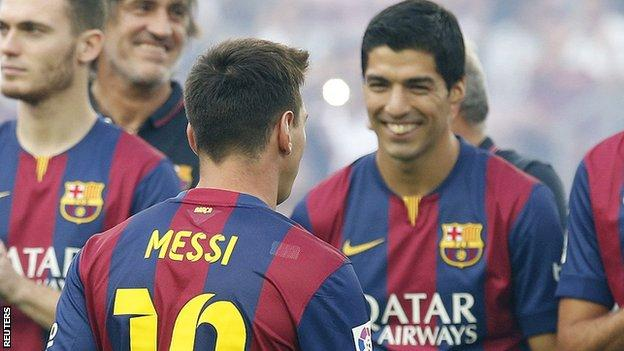 Barcelona players Lionel Messi and Luis Suarez