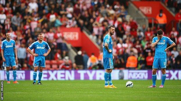 Sunderland players dejected