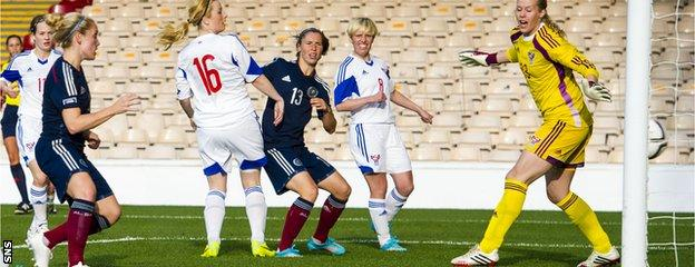 Kim Little scores against the Faroe Islands in World Cup qualifying