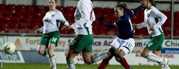 Julie Fleeting scores against Bulgaria