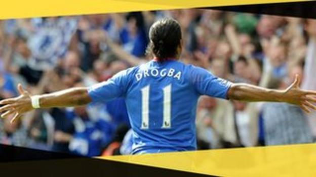 Chelsea's Didier Drogba celebrates scoring in the 2010 FA Cup final against Portsmouth