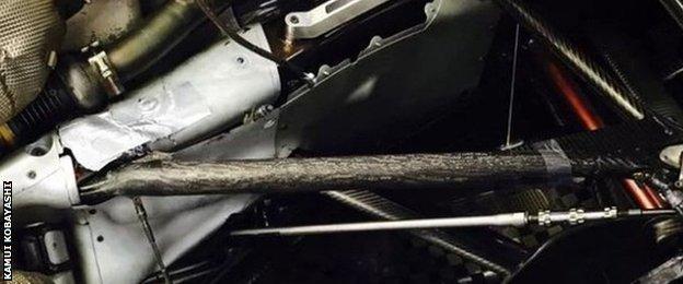 Suspension on Kamui Kobayashi's Caterham