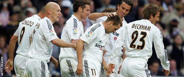 Real Madrid celebrate scoring against Barcelona in April 2005