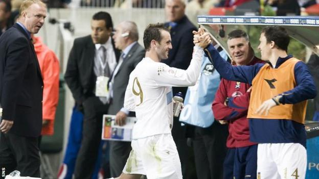 James McFadden celebrates his match-winning goal against France in 2007