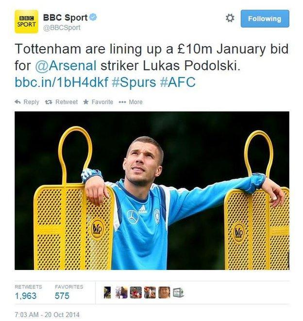BBC Sport Gossip Column tweet