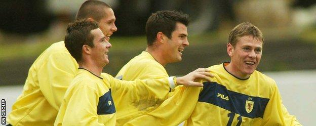 Gary Naysmith (right) scored once for Scotland