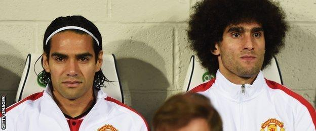 Radamel Falcao and Marouane Fellaini