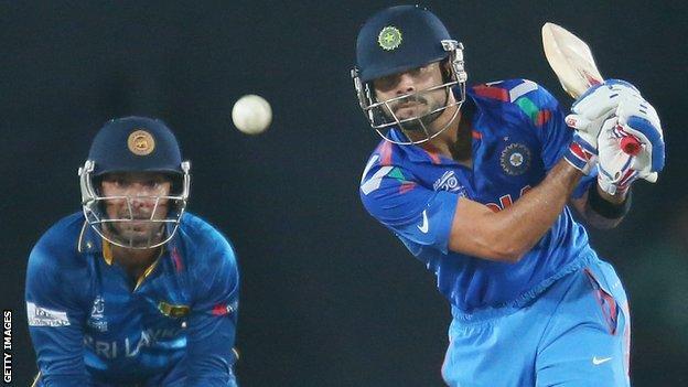 Sri Lanka's Kumar Sangakkara and India's Virat Kohli