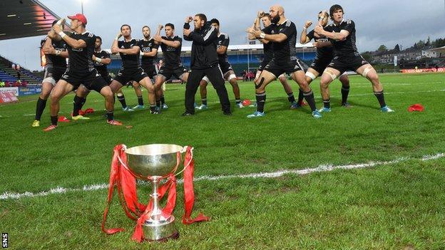New Zealand celebrated winning the Glasgow Sevens with a Haka