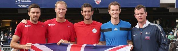 Great Britain's Davis Cup team: Colin Fleming, Dominic Inglot, James Ward, Andy Murray and captain Leon Smith celebrate their 3-1 victory against the United States.