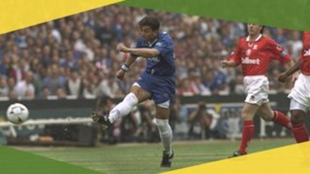 Chelsea's Roberto Di Matteo scores in the 1997 FA Cup final against Middlesbrough