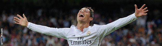 Cristiano Ronaldo of Real Madrid celebrates after scoring against Club Athletic