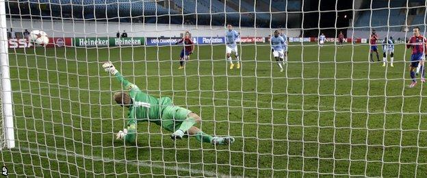 Joe Hart dived the right way for Natcho's penalty but City now have just two points from three games