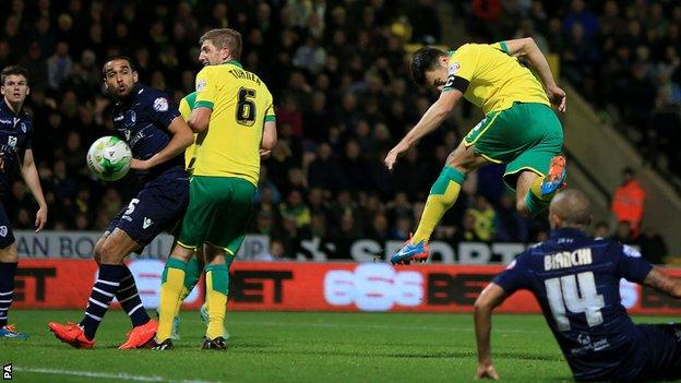 Russell Martin heads Norwich into the lead