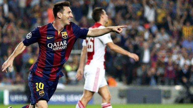 Barcelona's Lionel Messi scored his ninth goal of the season