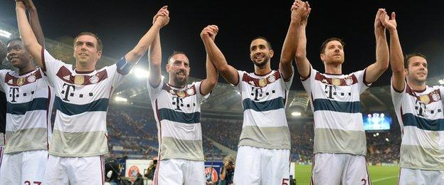 Bayern Munich scored five times in the opening 36 minutes away at Roma, who sit second in Serie A