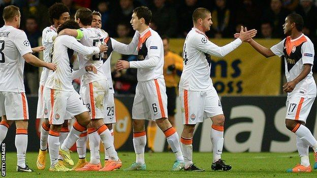 Shakhtar Donetsk celebrate