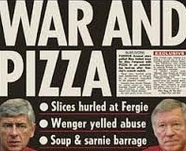 A headline from the Sun newspaper reading 'War and Pizza'