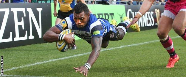Semesa Rokoduguni scores against London Welsh for Bath
